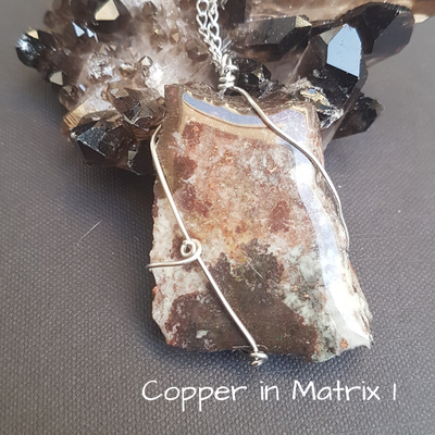 Image of Copper in Matrix Wire-Wrapped Necklace
