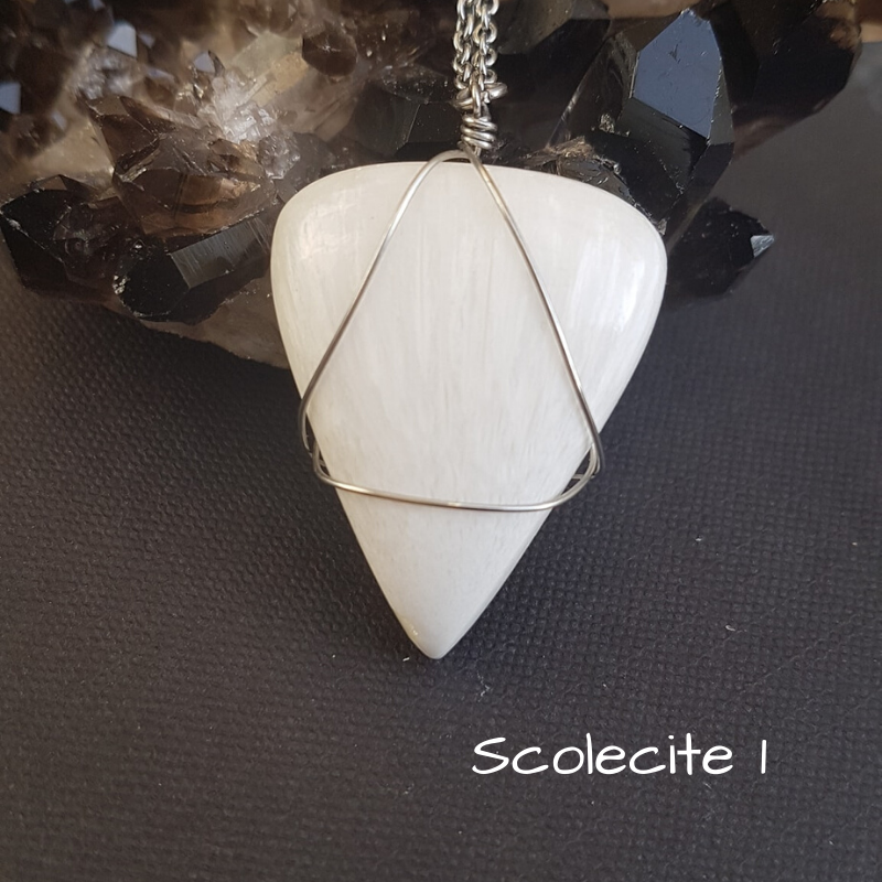 Image of Scolecite Wire-Wrapped Necklace