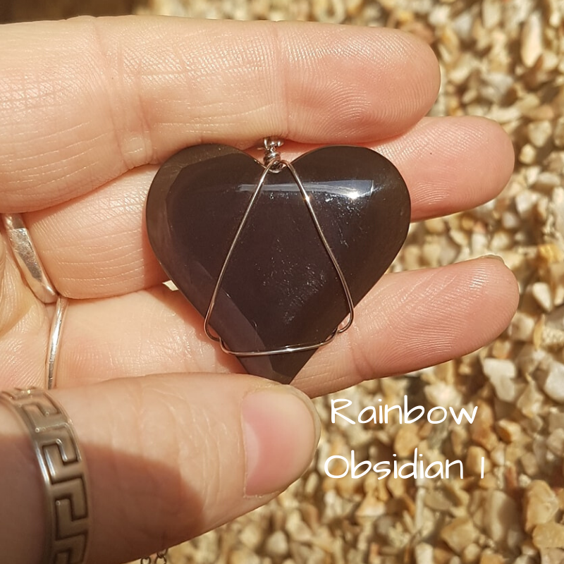 Image of Rainbow Sheen Obsidian Wire-Wrapped Necklace