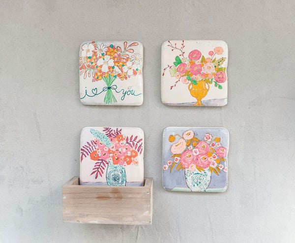 Image of Floral Coaster Set w/ wood box