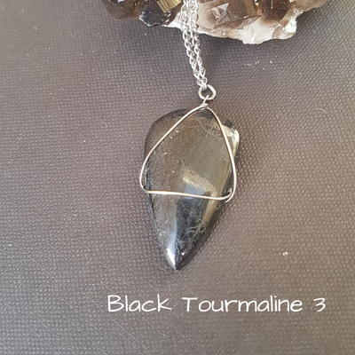 Image of Black Tourmaline Wire-Wrapped Necklace
