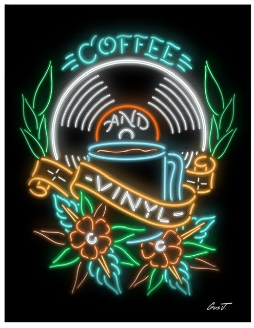 """Image of """"Coffee and Vinyl"""" NEON 8.5x11 inch print"""