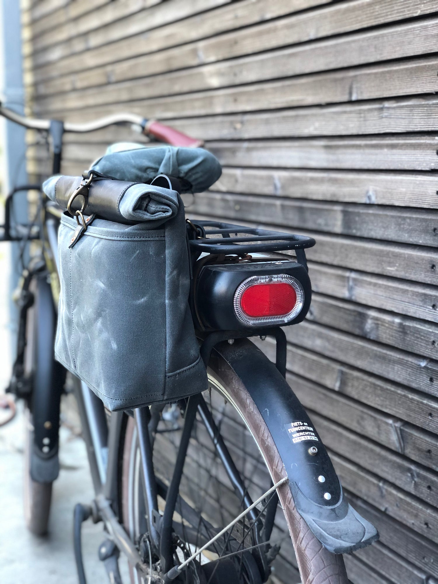 Image of Gray waxed canvas saddlebag Motorbike bag Motorcycle bag Bicycle bag in waxed canvas Bike accessorie