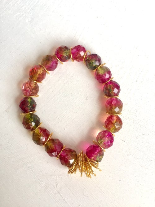 Image of Afiok beaded bracelet- Watermelon Quartz