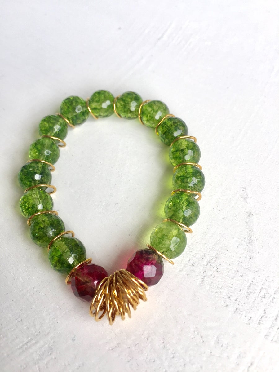 Image of Afiok beaded bracelet- green Quartz