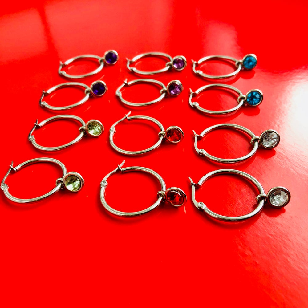 Image of GEM HOOP EARRINGS