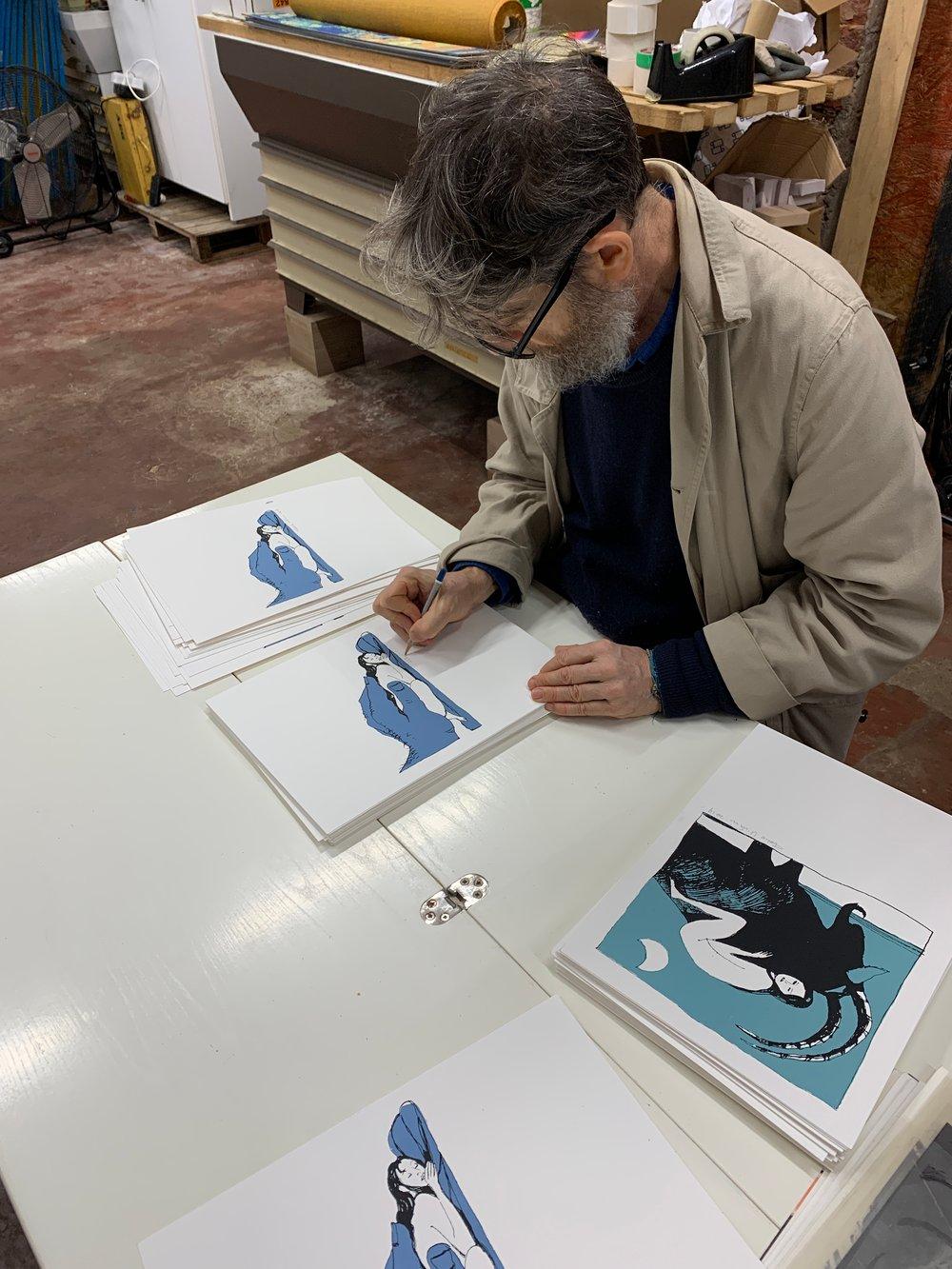 Sotto la luna - Serigrafia di Fabio Visintin