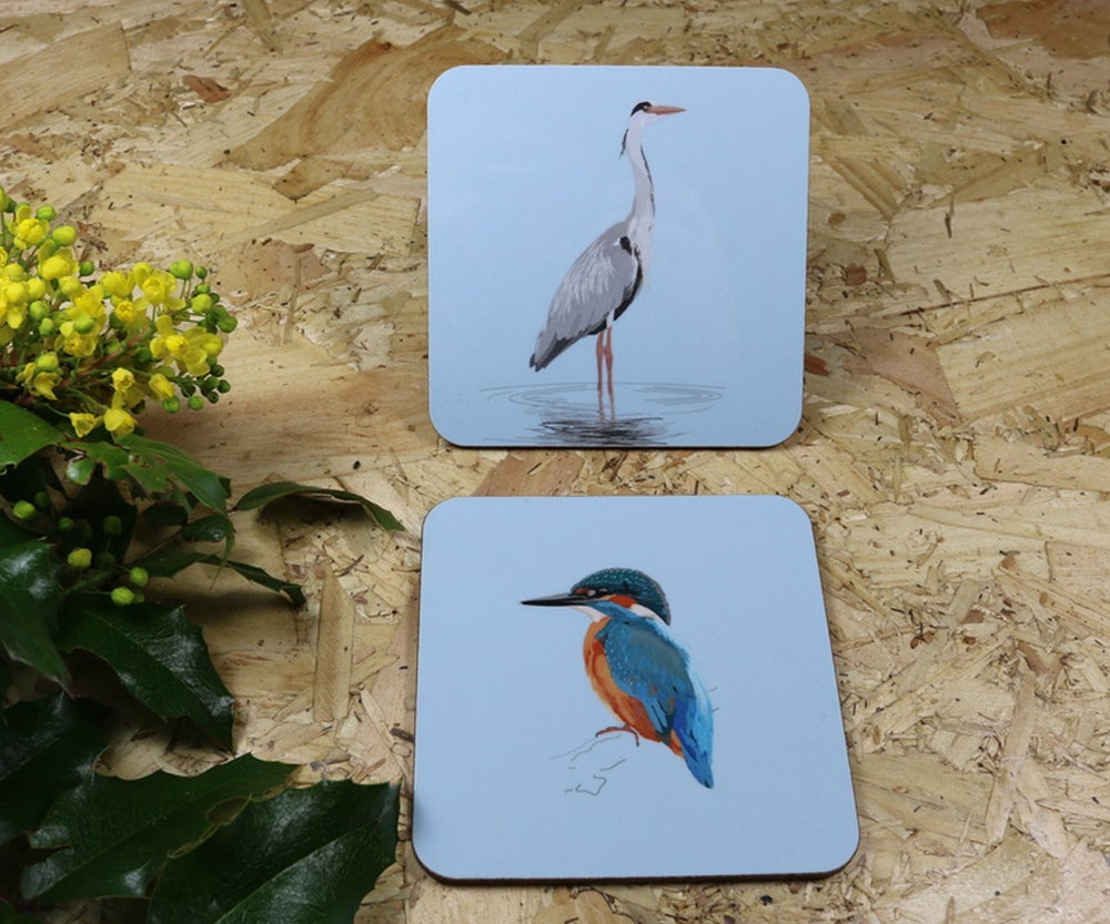 Image of Set of Four Riverside Coasters featuring the Heron and Kingfisher.