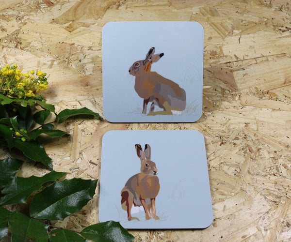 Image of Set of Four Hare Coasters (Two designs )