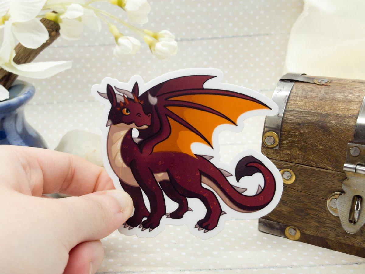 Red Vinyl Dragon Sticker - 3 inch