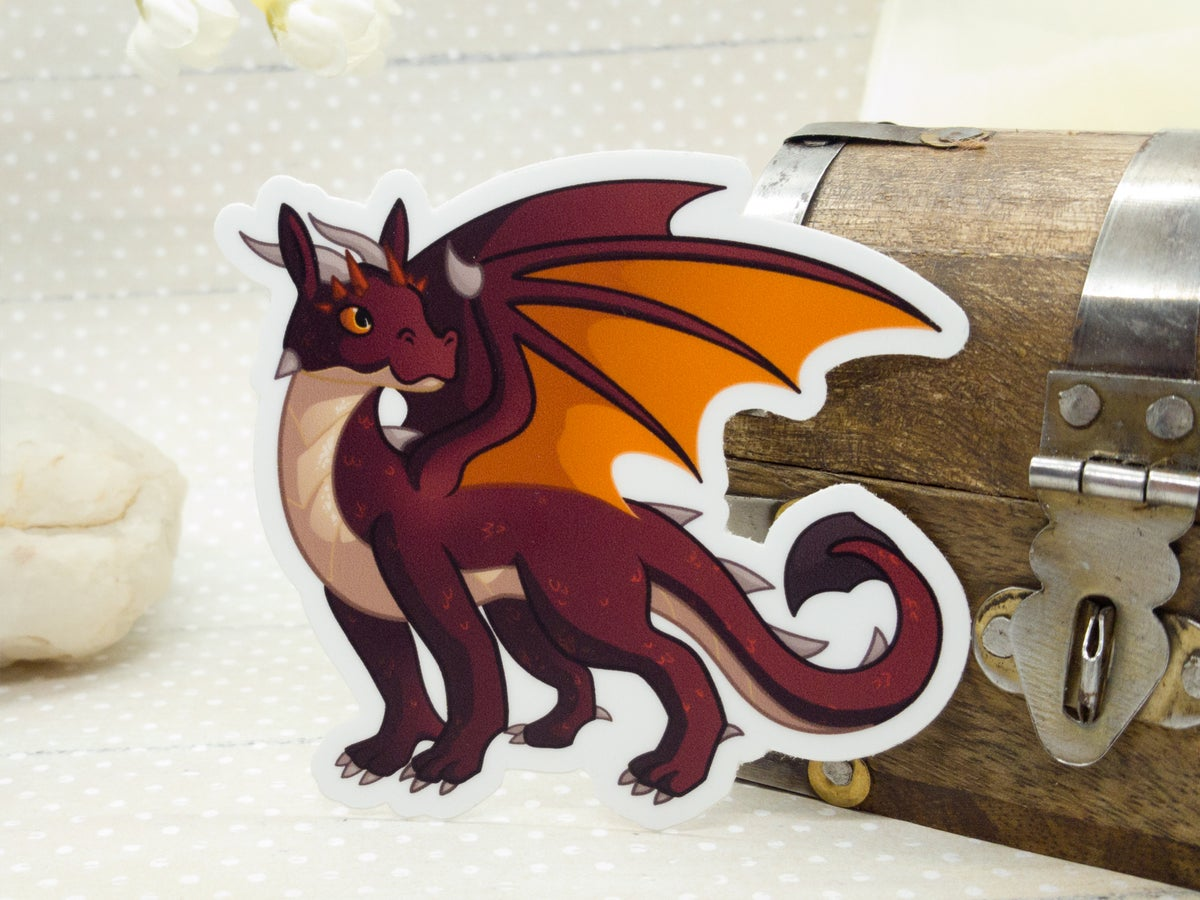 Red Vinyl Dragon Sticker - 3 inch