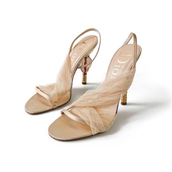 Image of Dior Satin Mesh Sculpted Heel Sandals