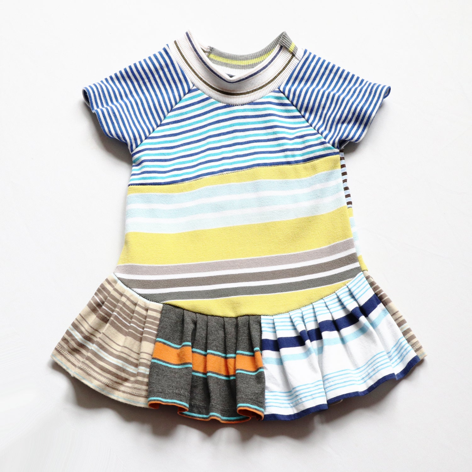Image of superstripe short sleeve 12m baby repleat pleated stripe stripes dress blue yellow turquoise