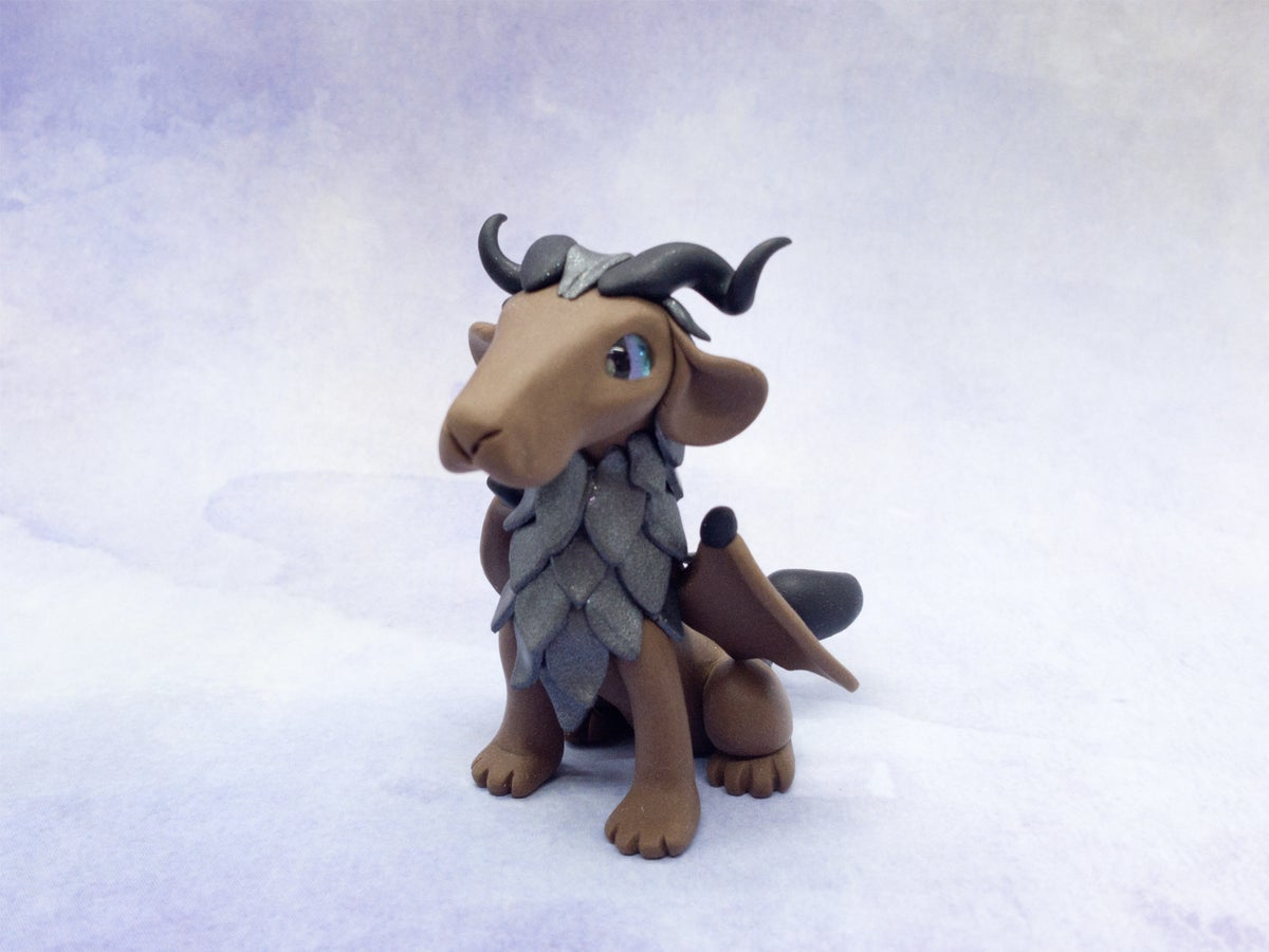 Brown Manticore Polymer Clay Sculpture