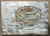"Image of 50"" x 70"" Bird's Nest-  Original Collage"