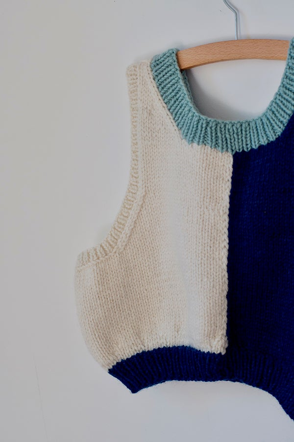 Image of Hand Knitted Vest - Blue/Navy/Cream