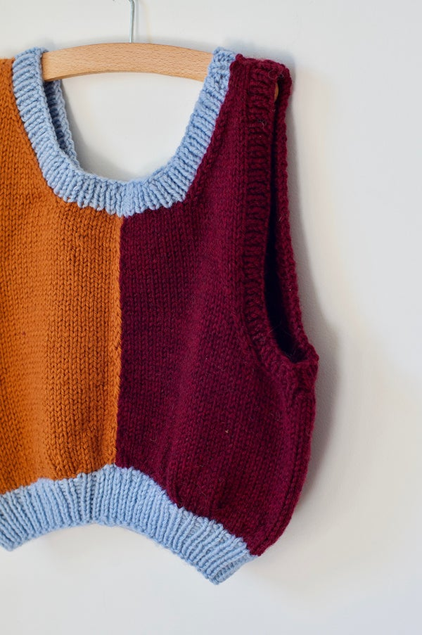 Image of Hand Knitted Vest - Blue/Rust/Maroon