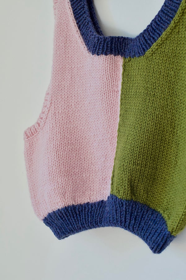 Image of Hand Knitted Vest - Pink/Green/Purple