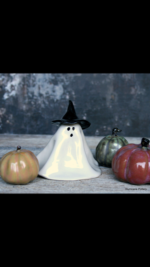 Image of Small spooky ceramic ghosts. Haunted family. Handmade Halloween decorations for table or mantle