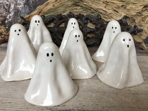 Image of Medium Spooky Ghosts. Handmade Ceramic Spirits. Ghost Figures for Home Decor