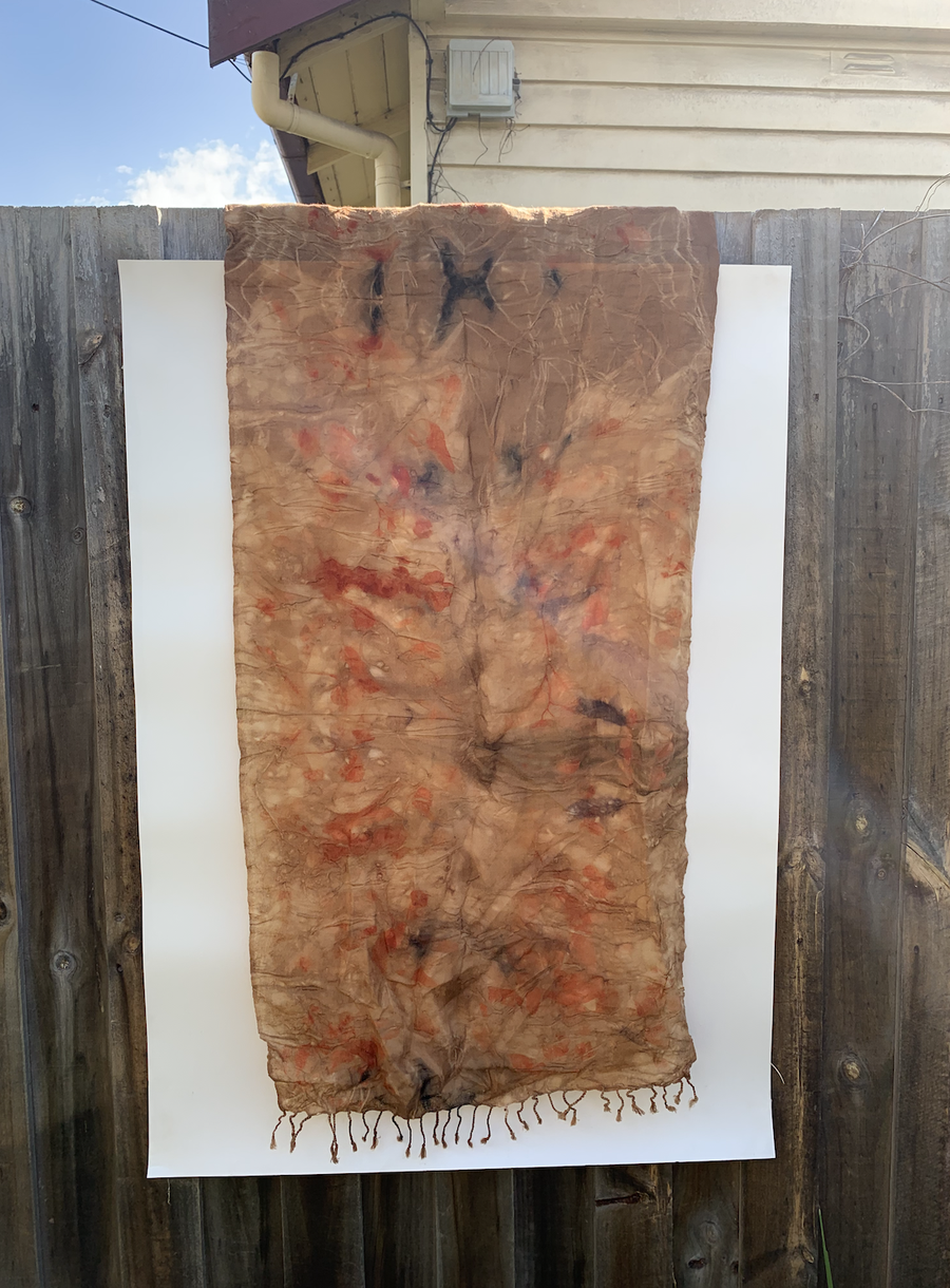 Image of Eco-Dyed Linen & Wool Scarf