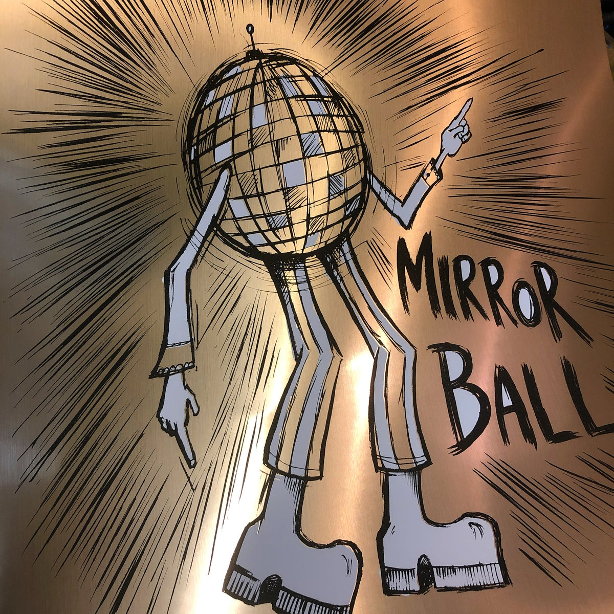 Mirrorball gold foil print