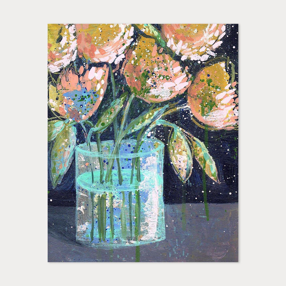 Image of 8x10 Art Print - Peach & Ochre Floral