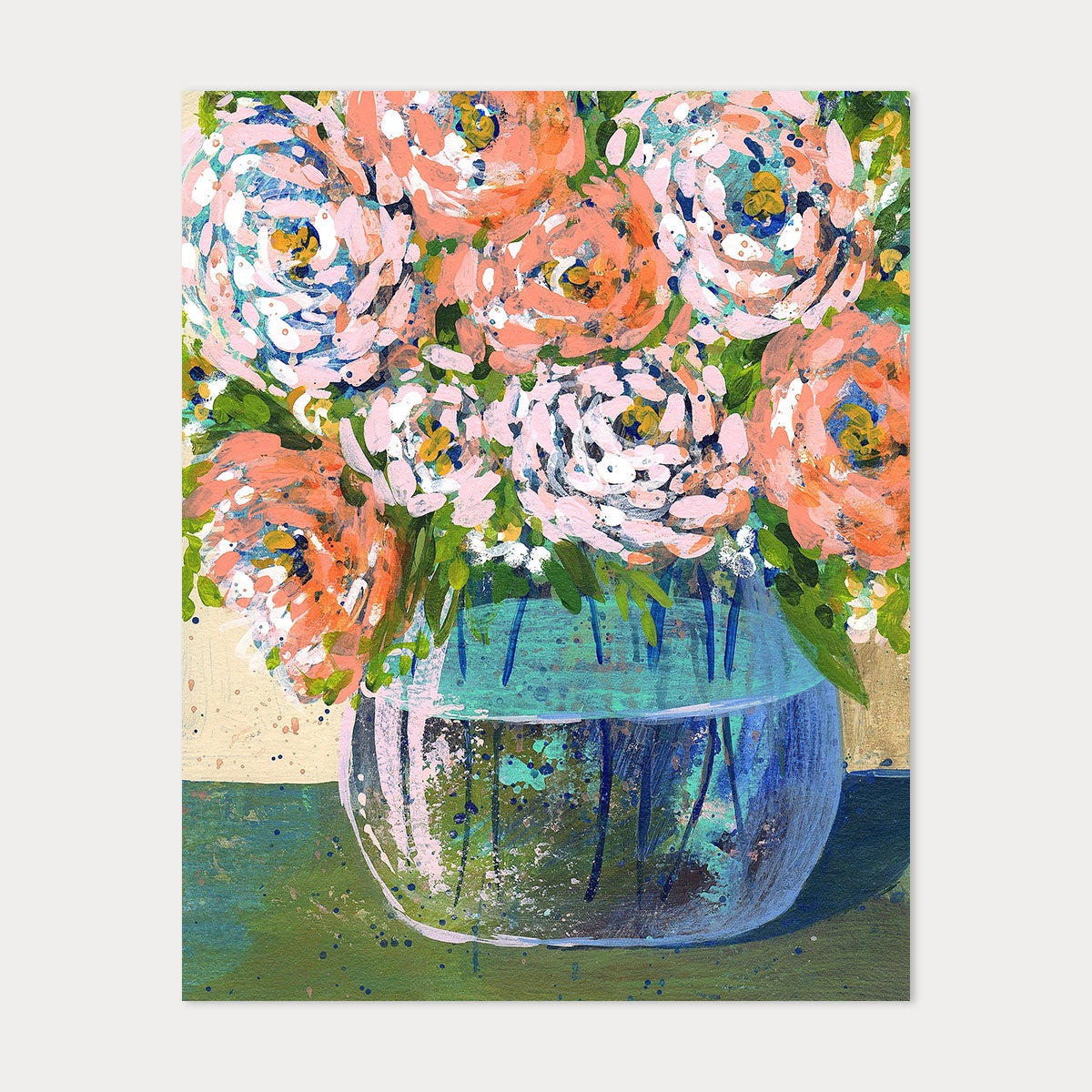 Image of 8x10 Art Print - Peach Florals