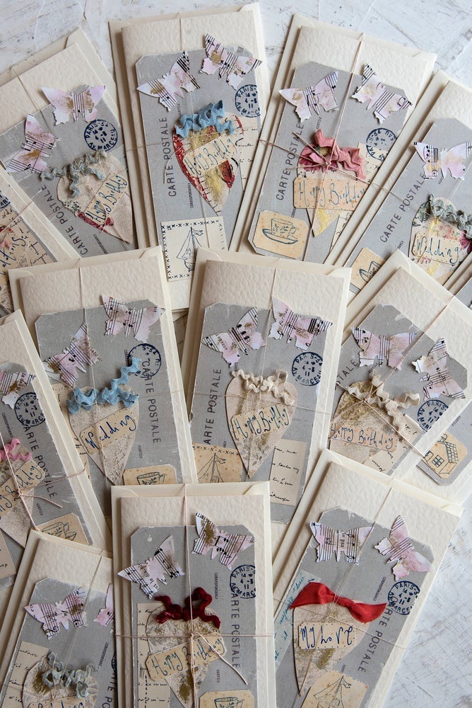 Image of 'Heart & Butterfly' collaged greeting cards