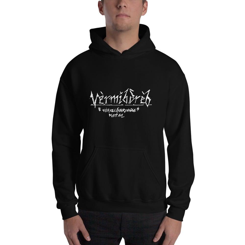 "Image of Vèrmibdrèb ""Vèrmibdrèb Zuèrkl Goèbtrevoryalbe"" Hooded Sweatshirt"