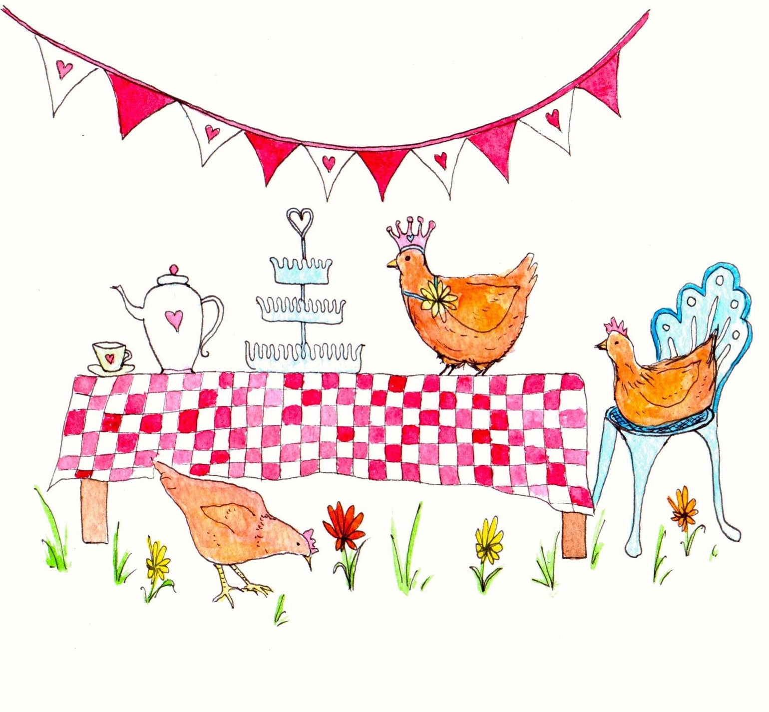 Image of Chicken Tea Party Greeting Card