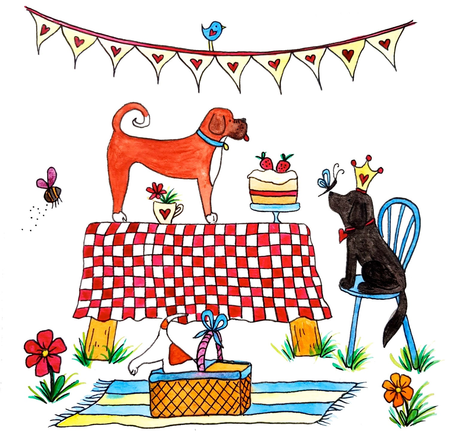 Image of Doggie Picnic Greeting Card