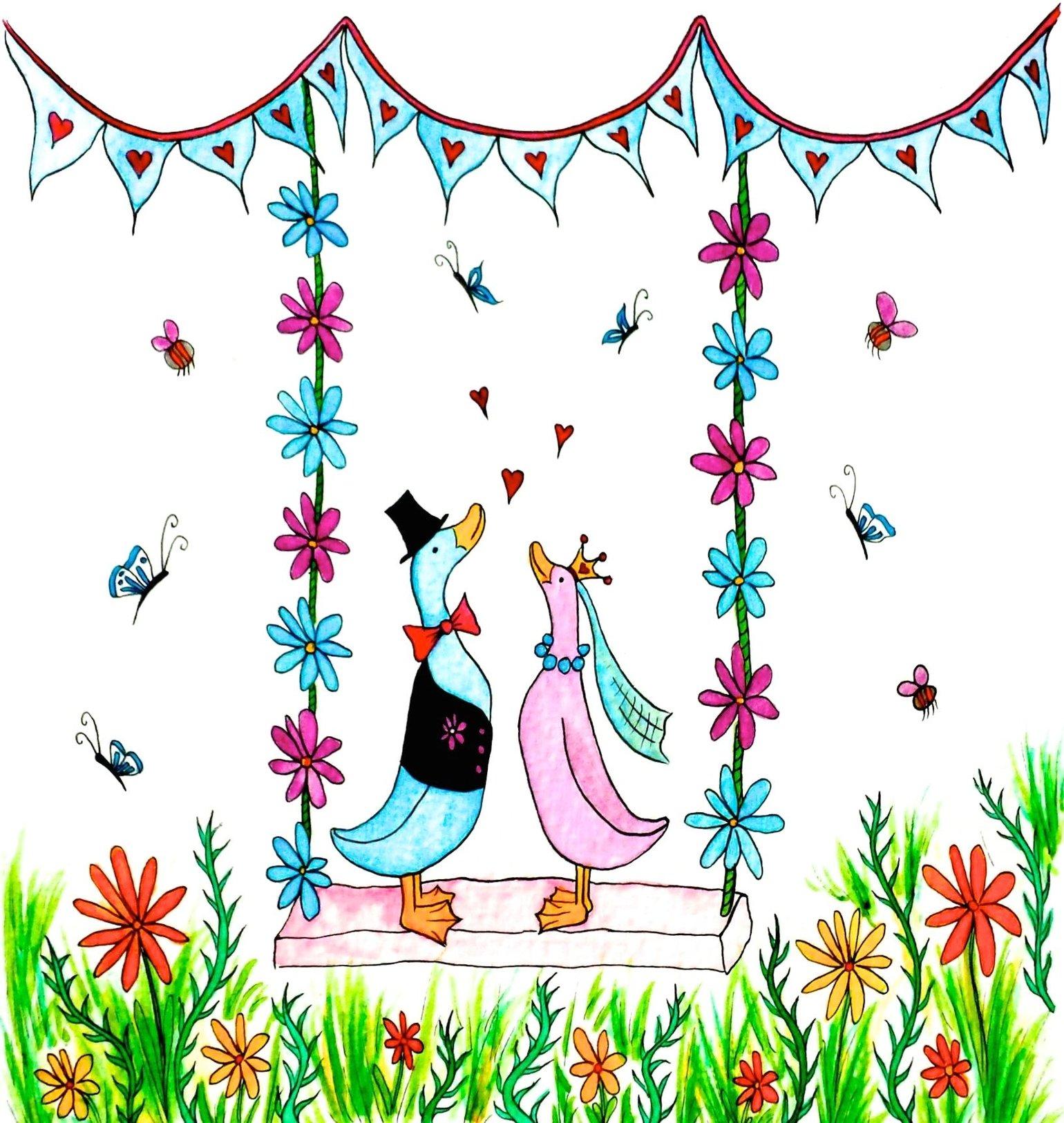 Image of Wedding Ducks Greeting Card