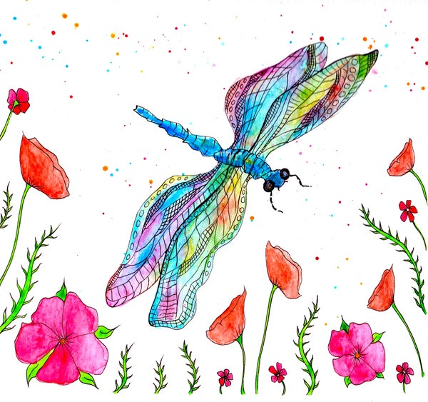 Image of Rainbow Dragonfly Greeting Card