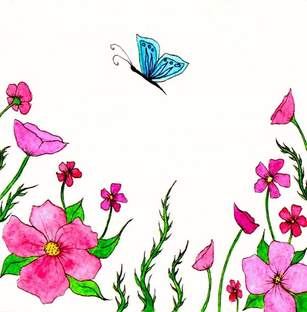 Image of Blue Butterfly Greeting Card