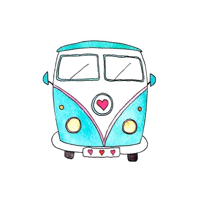 Image of VW Campervan Greeting Card