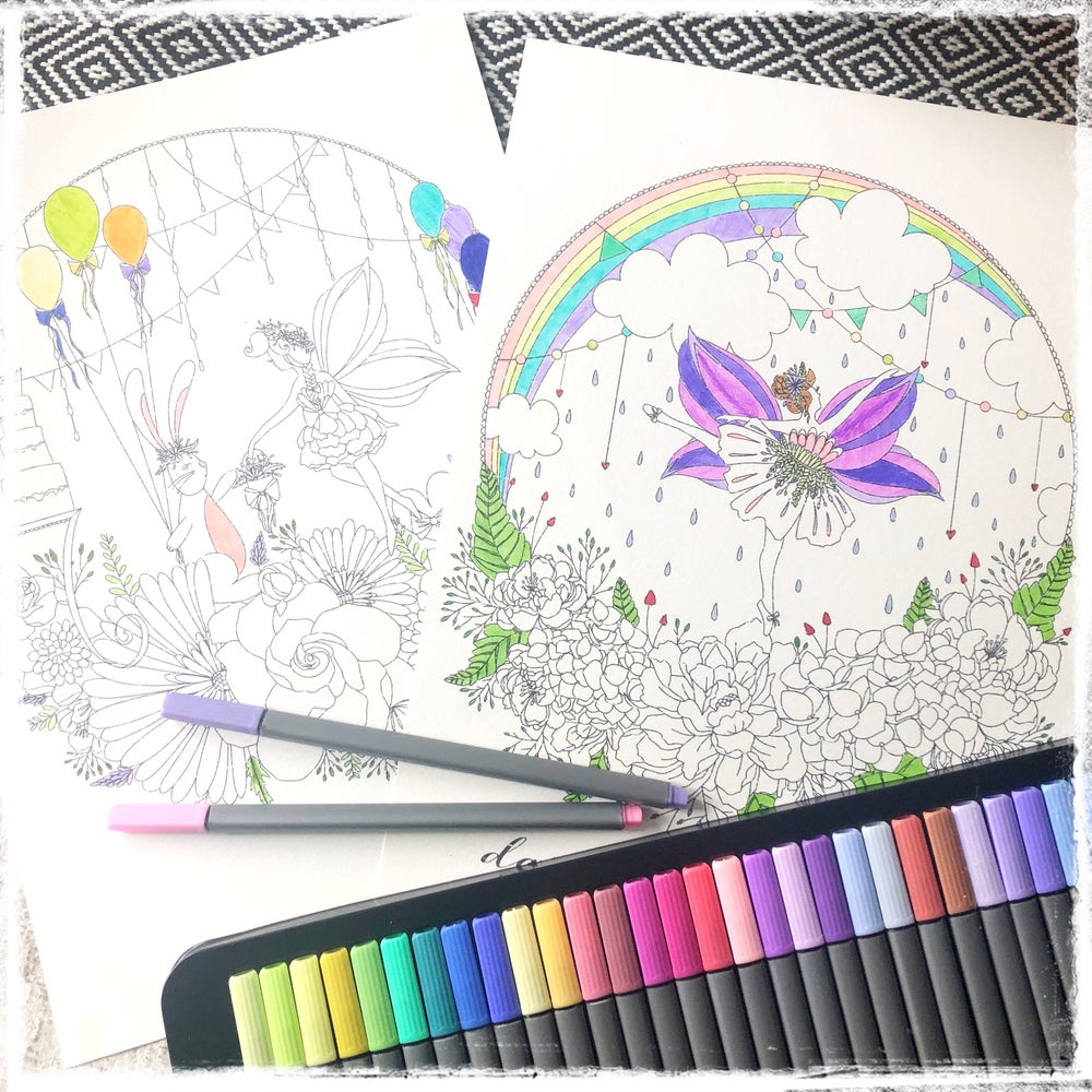 Image of Fairy and Friends Colouring Pages Set of 5