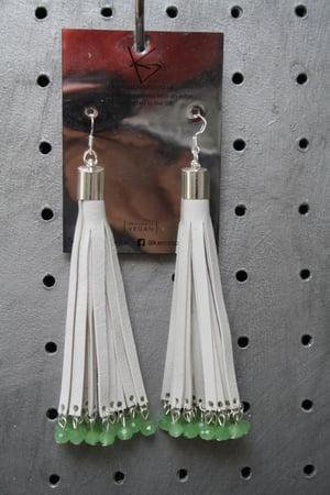 Image of White Tassel Earrings