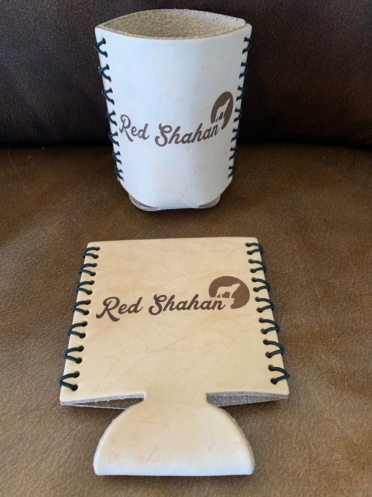 Image of Leather  Red Shahan Koozie