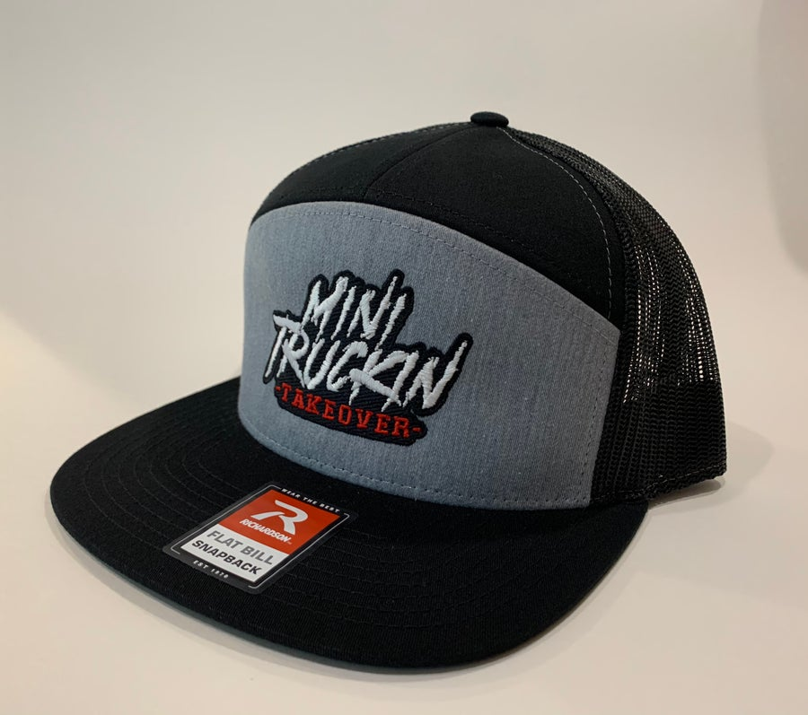 Image of Grey/Black 7 panel Trucker