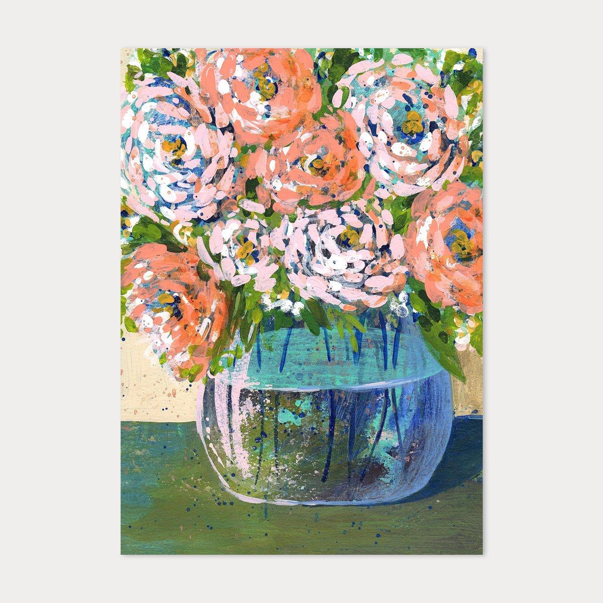 Image of 5x7 Art Print - Peach Florals