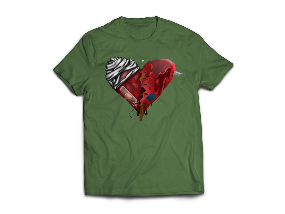 Image of HeArTbRokEN Military Green Tee
