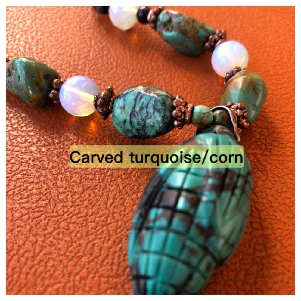 Image of turquoise  necklace ,carved pendant  30 inch