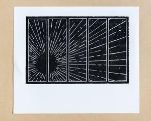Image of SUN linoleum block print