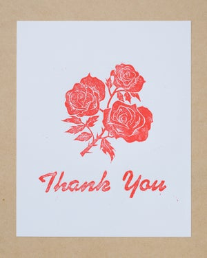 Image of THANK YOU linoleum block print