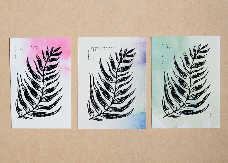 Image of FERN linoleum block print