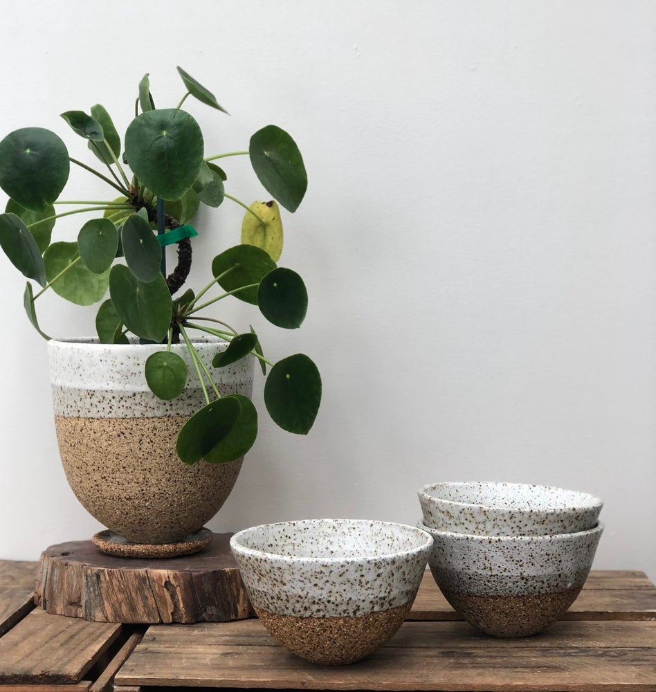Image of Two speckled dip cereal bowls