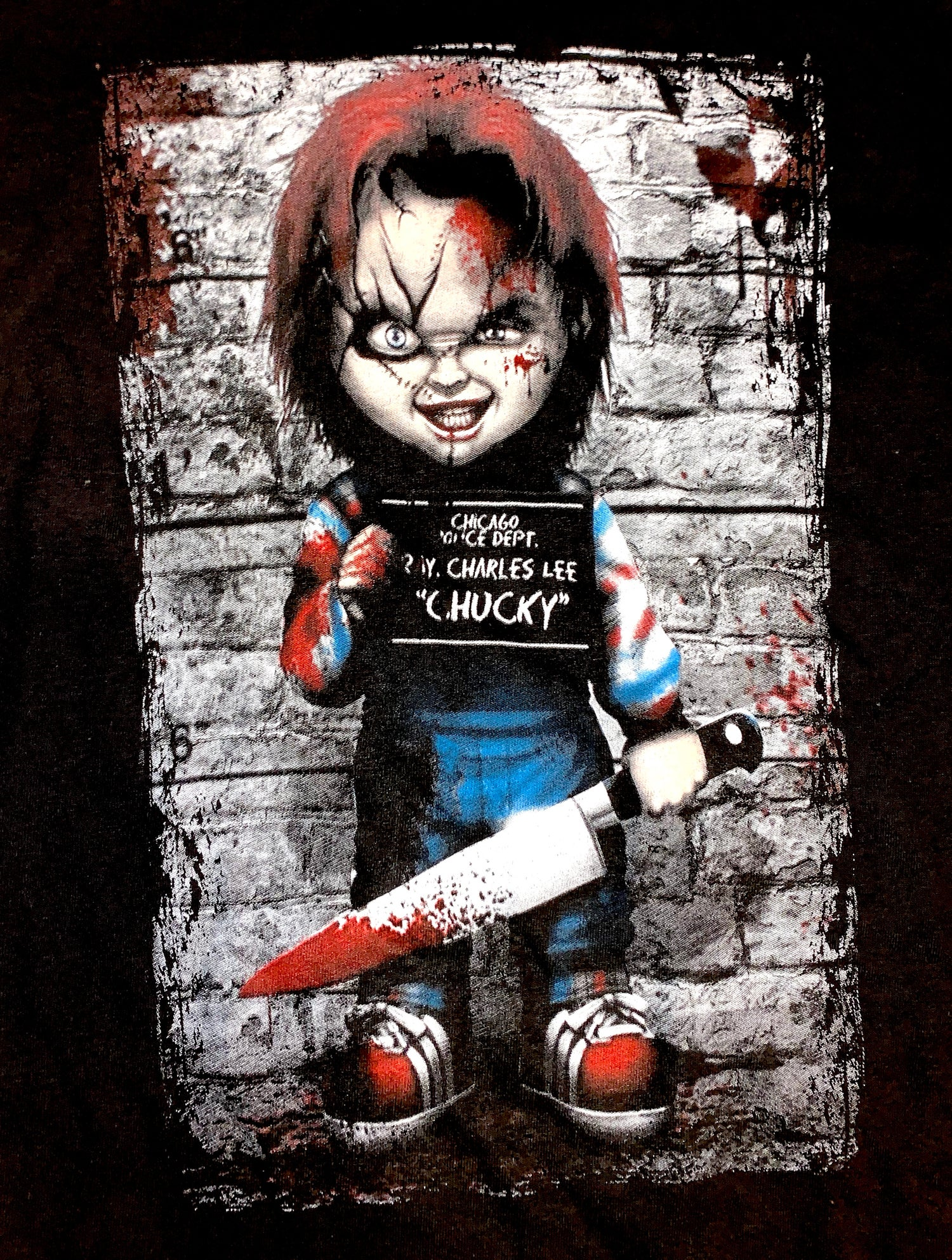 "Image of Chucky ""Ray Charles Lee"" Knife T Shirt Mens"