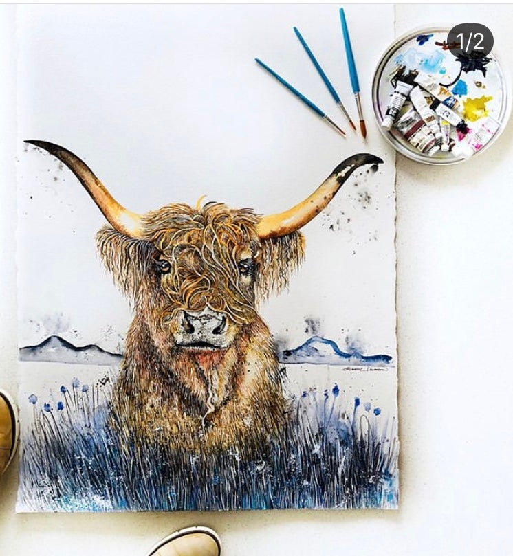 """Image of """"Harry"""" the Highland cow with FREE SHIPPING"""