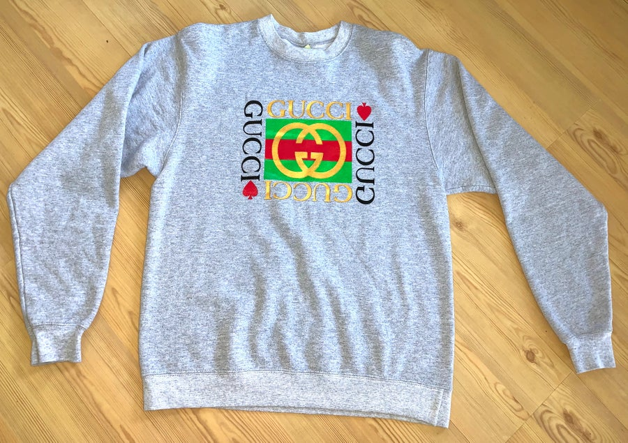 Image of VINTAGE Double G Box Logo Gray Crewneck Sweater Sz Med